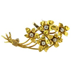 Antique 14 Karat Yellow Gold Diamond Flower Bouquet Brooch Pin