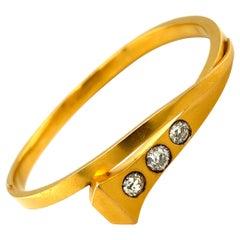 Antique 14 Karat Yellow Gold Diamond Nail Head Bracelet