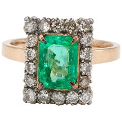 GIA Certified Antique Yellow Gold Emerald and Diamond Halo Cocktail Ring