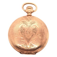 Antique 14 Karat Yellow Gold Engraved Case Elgin Pocket Watch, circa 1895