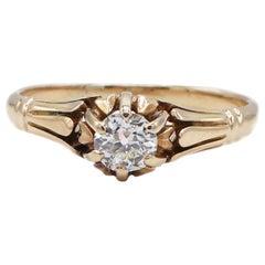 Antique 14 Karat Yellow Gold Old European Cut .30 Carat Diamond Engagement Ring
