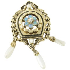 Antique 14 Karat Yellow Gold Opal and Pearl Brooch or Pendant
