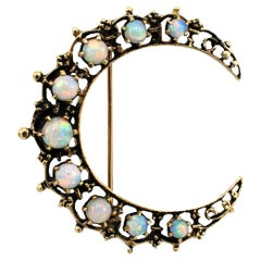 Antique 14 Karat Yellow Gold Opal Crescent Moon Brooch Pin