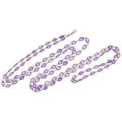 Antique 14 Karat Yellow Gold Oval Amethyst Chain, circa 1890s
