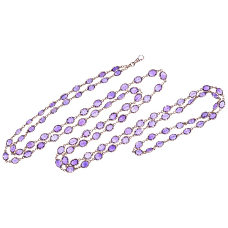 Antique 14 Karat Yellow Gold Oval Amethyst Chain, circa 1890s For Sale
