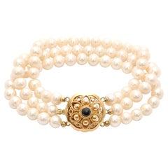Antique 14 Karat Yellow Gold Pearl Bracelet