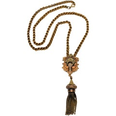 Antique 14 Karat Yellow Gold Pendant Tassel Necklace