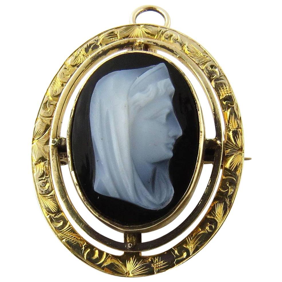Antique 14 Karat Yellow Gold Sardonyx Cameo Madonna Pin or Pendant, circa 1915