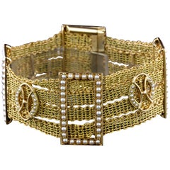 Antique 14 Karat Yellow Gold Seed Pearl Bracelet