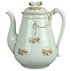 Antique 14-Piece French Limoges Hand Painted Porcelain Tea & Crumpet Set