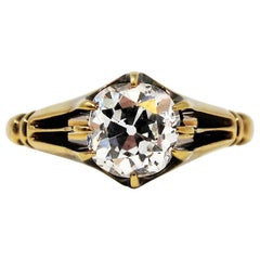 Antique 1.40 Carat Old Mine Cut Diamond Solitaire 18 Karat Vintage Ring