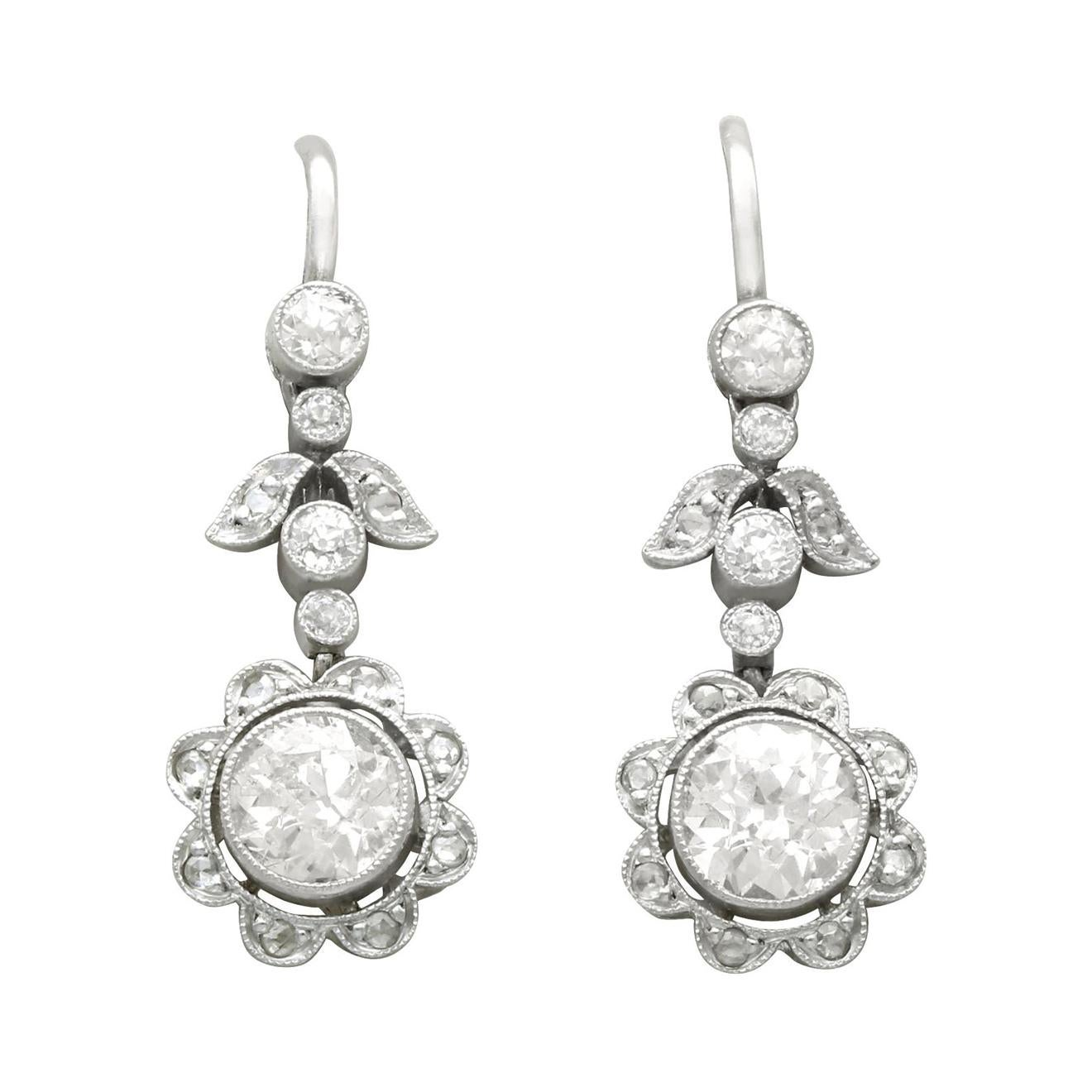 Antique 1.42 Carat Diamond and Platinum Drop Earrings, Circa 1920