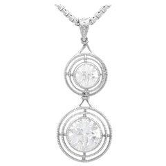 Antique 1.42 Carat Diamond and Platinum Drop Pendant Circa 1930