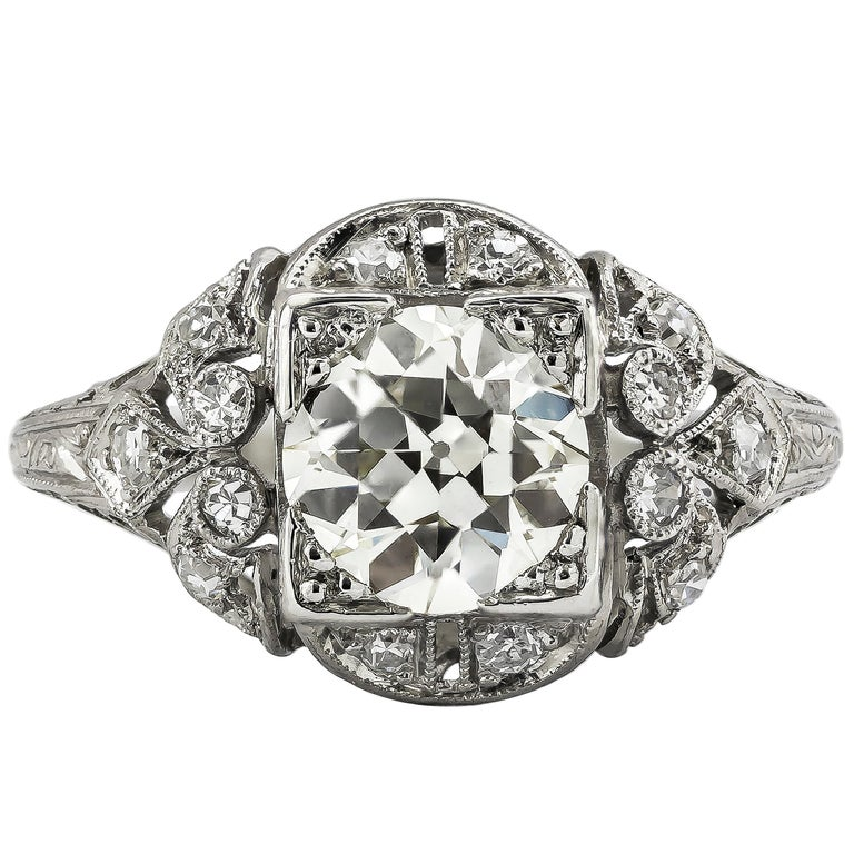 Antique Engagement Rings For Sale: Antique 1.42 Carat Old European Diamond Art Deco