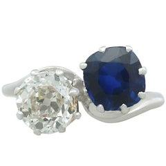 Antique 1.45Ct Diamond and 1.58Ct Sapphire Platinum Twist Ring Circa 1920