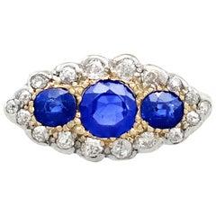 Antique 1.48 Carat Sapphire 1.04 Carat Diamond Yellow Gold Trilogy Cocktail Ring