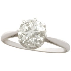 Antique 1.49 Carat Diamond and Platinum Solitaire Engagement Ring