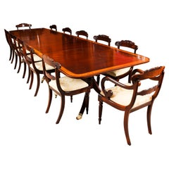 Antique Regency Metamorphic Dining Table and 12 Chairs, 19th Century