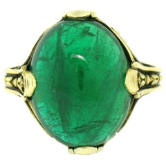 Antique 14k Gold 10.03ct GIA Oval Cabochon Very Fine Green Zambian Emerald Ring