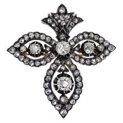 """Antique 14K Gold """"Fleur-de-lis"""" Diamond Brooch Pendant XIX Century"""