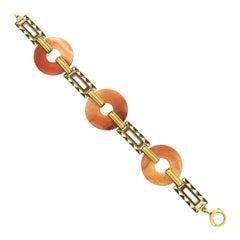 Antique 14k Gold Orange Agate Disk w/ Orange & Green Enamel Link Bracelet