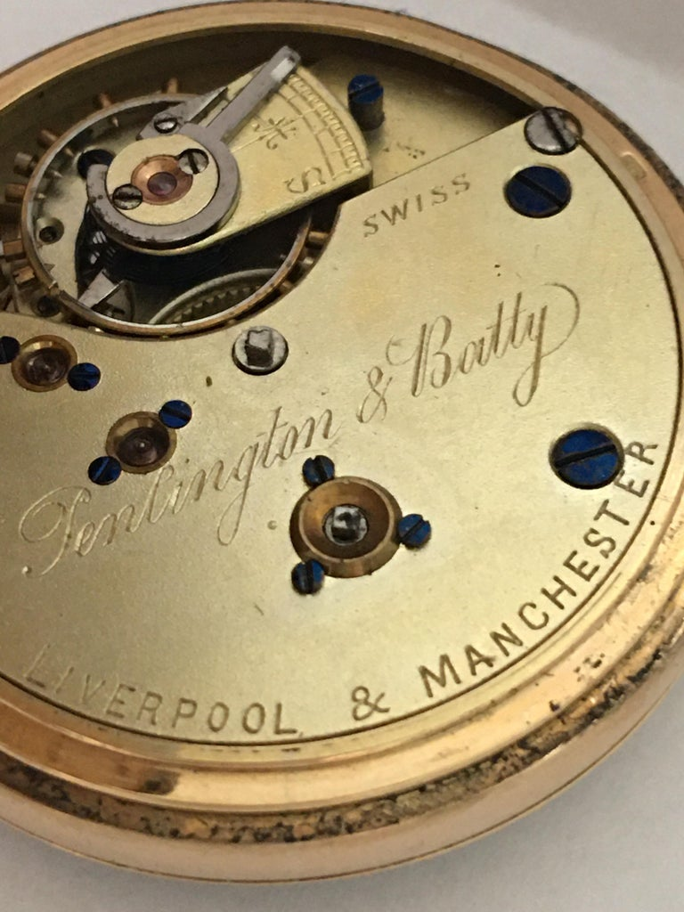Antique 14K Gold Penlington & Batty Liverpool & Manchester Small Pocket Watch For Sale 3