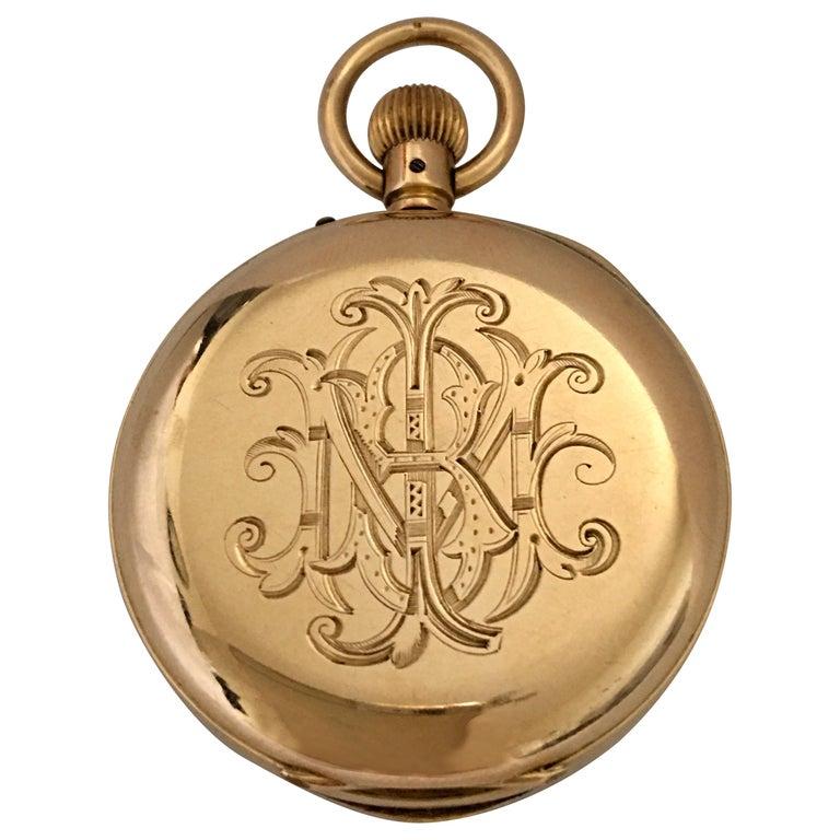 Antique 14K Gold Penlington & Batty Liverpool & Manchester Small Pocket Watch For Sale