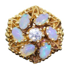 Antique 14 Karat Gold Pinwheel Ring Diamond and Australian Opal Blue Green Fire