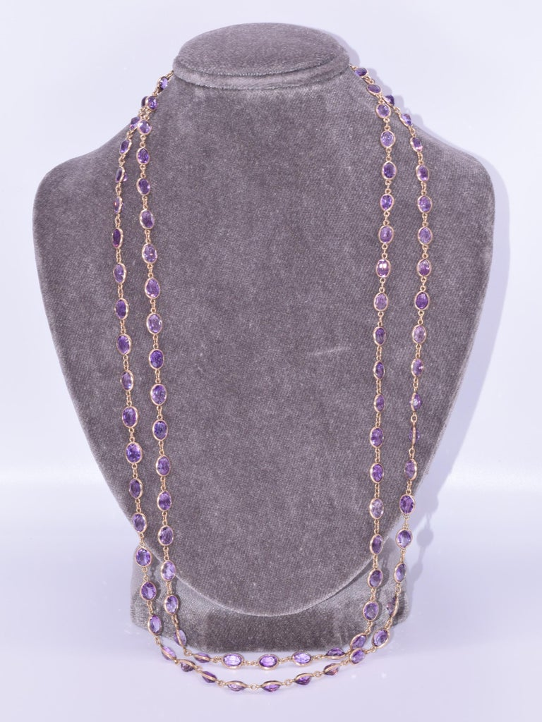 Victorian Antique 14 Karat Yellow Gold Oval Amethyst Chain, circa 1890s For Sale