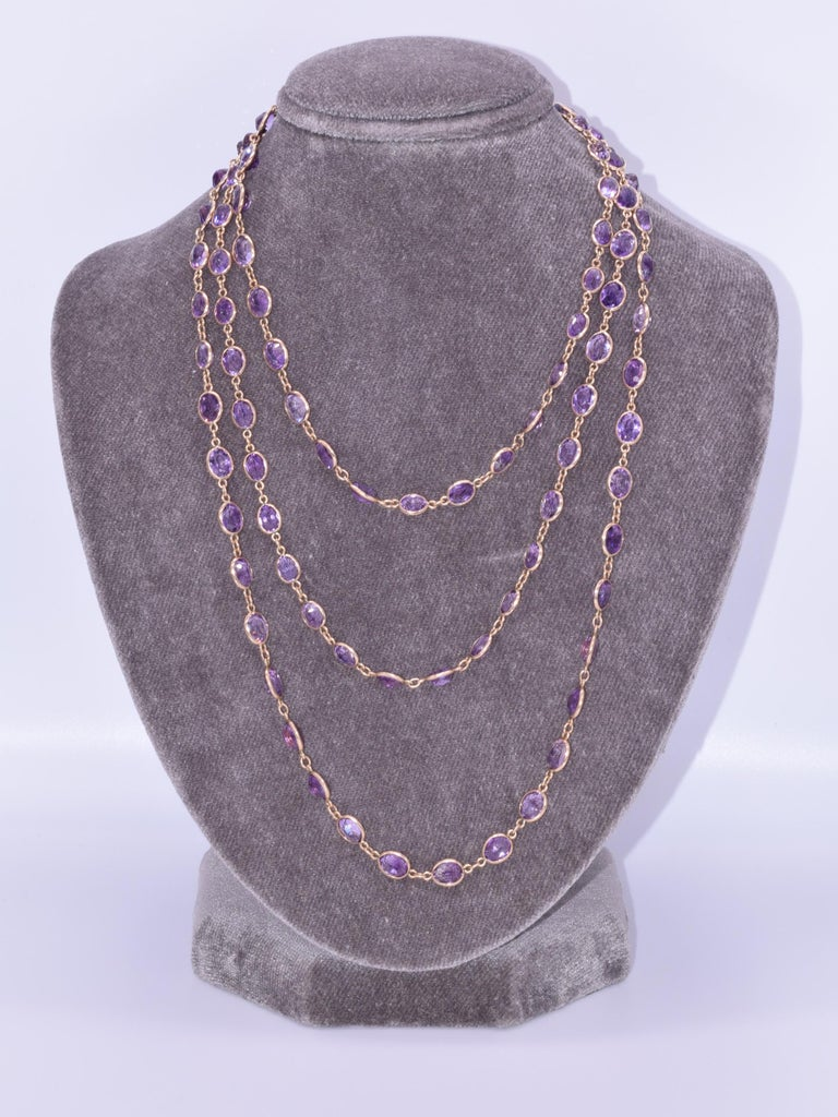 Oval Cut Antique 14 Karat Yellow Gold Oval Amethyst Chain, circa 1890s For Sale