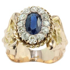 Antique 14kt Gold Ring with Old Cut Diamonds and Natural Blue Sapphire