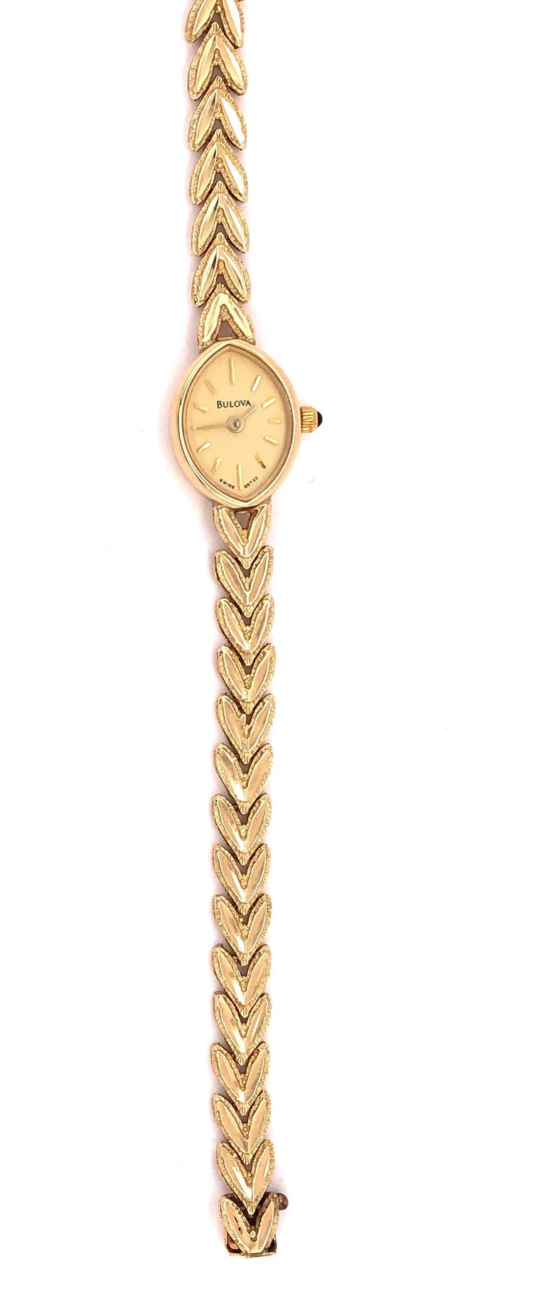 Vintage 14Kt Yellow Gold Bulova Wrist Watch Quartz Ronda 4 Jewels 15.7grams Without works. 17.5 Inches Bulova was founded and incorporated as the J. Bulova Company in 1875 by Bohemian immigrant Joseph Bulova (b. Joseph Bullowa, son of Nathan Bullowa