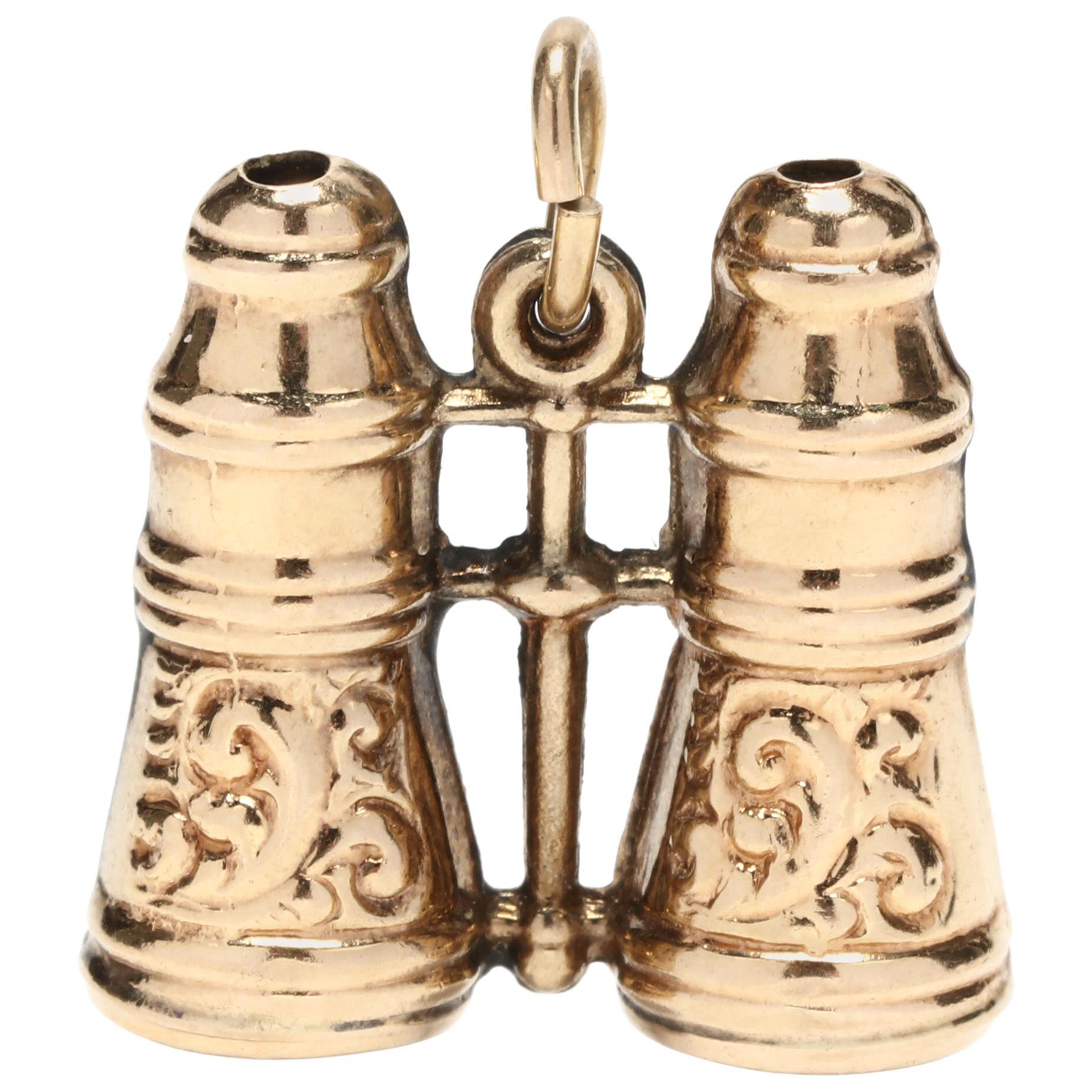 Antique 14 Karat Yellow Gold Engraved Binoculars Charm / Pendant