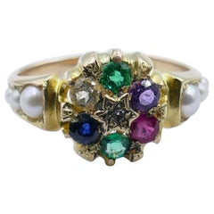 Antique 15 Carat Yellow Gold Diamond and Multi Gemstone Victorian Ring