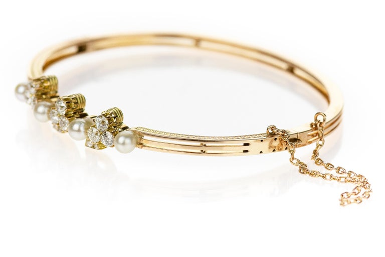 Victorian Antique 15 Carat Rose Gold Bangle with Old European Diamond and Sea Water Pearls For Sale
