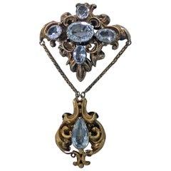 Antique 15 Karat Aquamarine Brooch, English, circa 1840