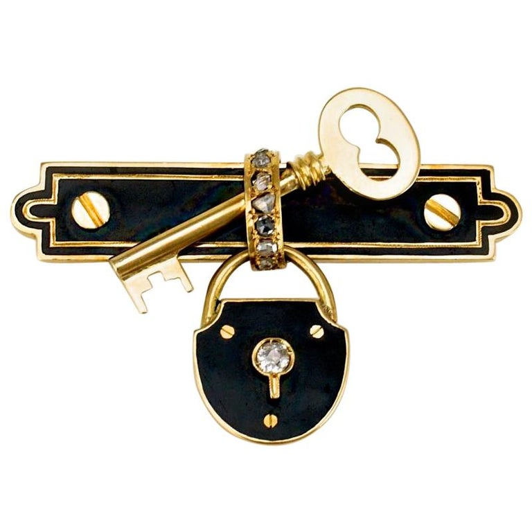 Antique 15 Karat Gold Diamond and Black Enamel Lock and Key Brooch Pin, 1880s For Sale