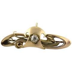 Antique 15 Karat Gold Georgian Diamond Swirl Pin Brooch with Chatalaine Hook