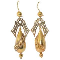 Antique 15 Karat Gold Hollowform Pendant Earrings by Castellani, circa 1870s