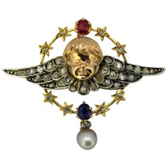 Antique 15 Karat Yellow Gold and Sterling Silver Brooch, Prague, 1880s