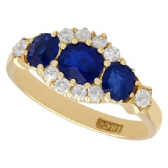 Antique 1.50 Carat Sapphire and Diamond Yellow Gold Cocktail Ring