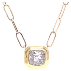 Antique 1.51 Carat Cushion Cut Diamond 14 Karat Gold Paperclip Link Necklace