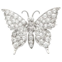 Antique 1.55 Carat Diamond and White Gold Butterfly Brooch