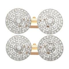 Antique 1.56 Carat Diamond, Platinum and Gold Cufflinks, Circa 1920