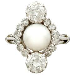 Antique 1.59 Carat Diamond and Pearl White Gold Dress Ring, circa 1930