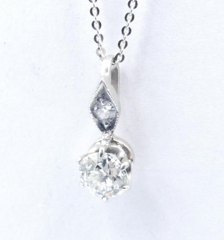 Edwardian Antique 15ct White Gold Diamond Pendant For Sale