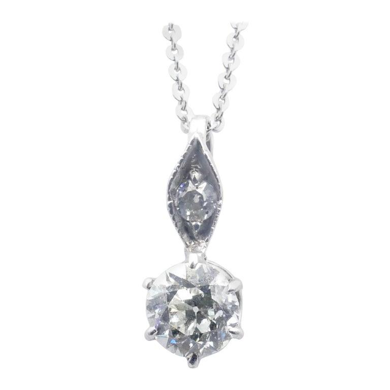 Antique 15ct White Gold Diamond Pendant For Sale