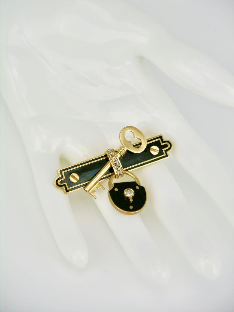 Women's Antique 15 Karat Gold Diamond and Black Enamel Lock and Key Brooch Pin, 1880s For Sale