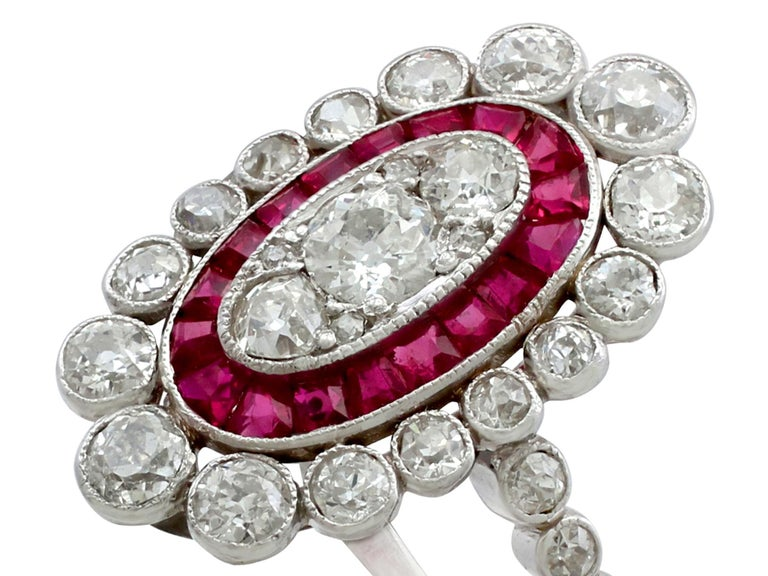Antique 1.60 Carat Diamond and Ruby Platinum Cluster Ring In Excellent Condition For Sale In Jesmond, Newcastle Upon Tyne