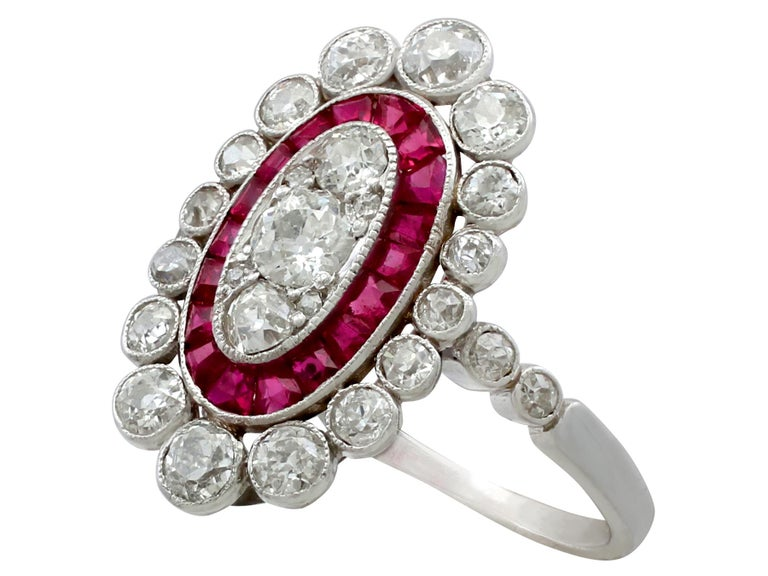 Women's Antique 1.60 Carat Diamond and Ruby Platinum Cluster Ring For Sale